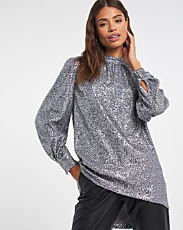 Silver Volume Sleeve Sequin Blouse