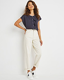 Navy Button Front Frill Detail Top