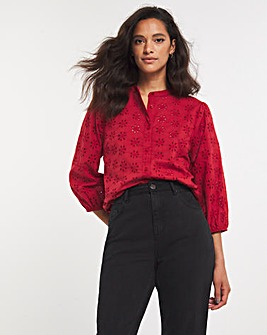 Paprika Broderie Collarless Blouse With Three Quarter Sleeves
