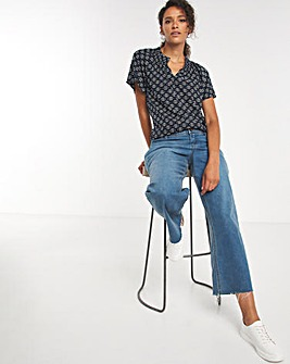 Blue Geo Print Short Sleeved Shirred Collar Top