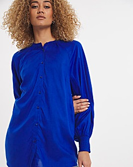 Blue Long Sleeved Viscose Collarless Blouse With Shirred Cuffs