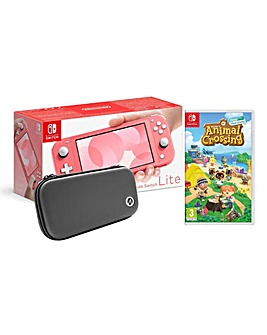 Switch Lite inc Animal Crossing and Case