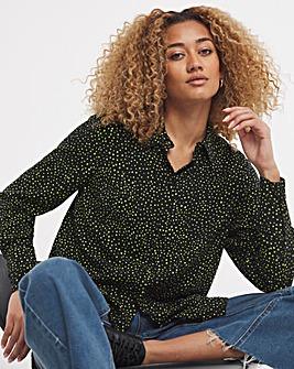 Lime Spot Print Dipped Back Viscose Shirt