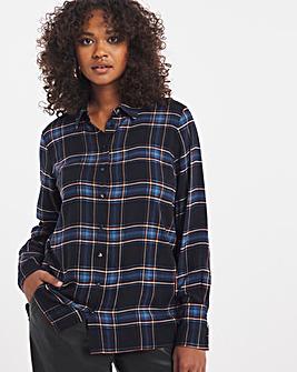 Blue Check Dipped Back Viscose Shirt