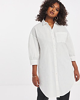 White Longline Shirt With Balloon Sleeve
