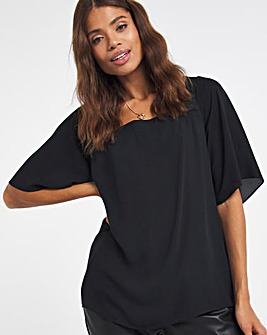 Black Square Neck Top With Back Tie And Side Splits