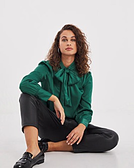 Green Removable Tie Satin Blouse