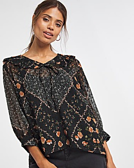 Multi Floral Statement Collar Dobby Blouse With Cami