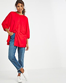 Coral Viscose Collarless Blouse With Shirred Cuffs
