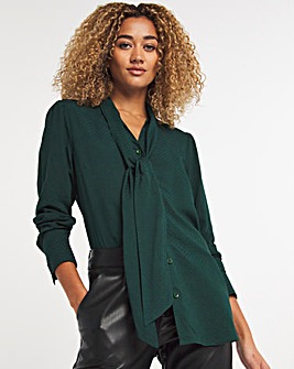 Green Jacquard Pussybow Blouse