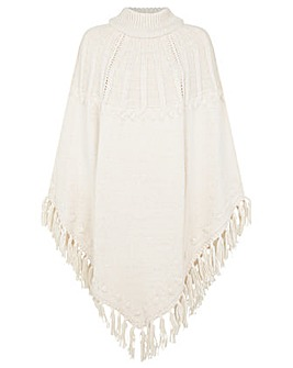 Monsoon Tassel Cable Knit Poncho