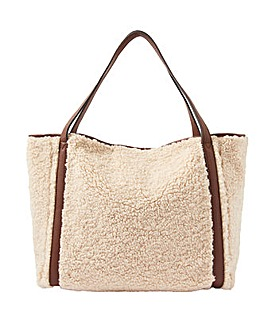 Accessorize Faux Shearling Slouch Bag