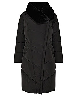 Monsoon Beverley Faux Fur Collar Coat