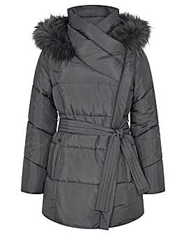 Monsoon Padded Faux Fur Hooded Coat