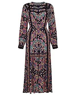 Monsoon Lace Trim Printed Midi Dress