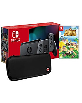 Switch Grey and Animal Crossing and Case