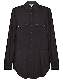 Monsoon Woven-Jersey Mix Longline Shirt