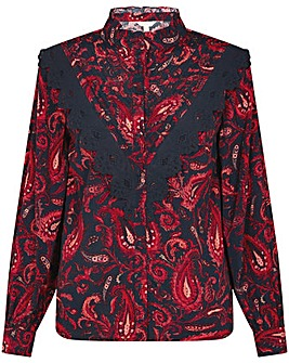 Monsoon Lace Trim Paisley Print Blouse