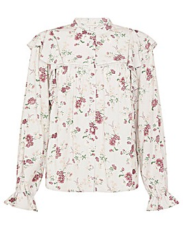 Monsoon Ditsy Floral Frill Sleeve Top