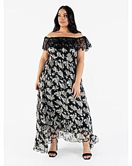 Lovedrobe Luxe Floral Bardot Maxi Dress