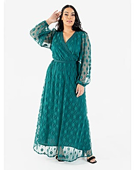 Lovedrobe Luxe Green Lace Maxi Dress