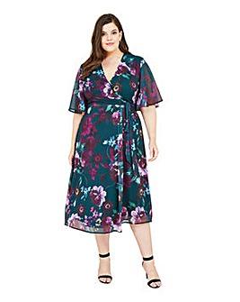 Yumi Curves Floral Bloom Midi Dress