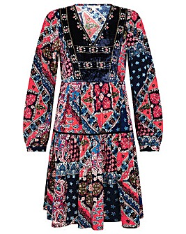 Monsoon Patch Print Velvet Trim Dress