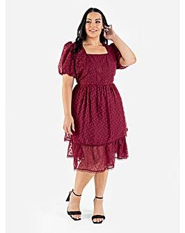Lovedrobe Luxe Berry Tiered Midi Dress