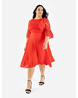 Lovedrobe Luxe Orange Pleated Midi Dress