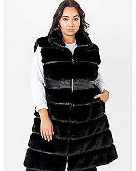 Lovedrobe Black Longline Faux Fur Gilet