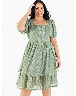 Lovedrobe Luxe Sage Tiered Midi Dress