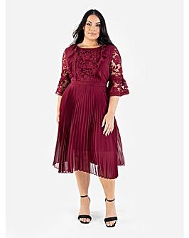Lovedrobe Luxe Berry Pleated Midi Dress