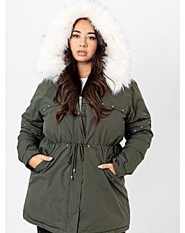 Lovedrobe Khaki Hooded Parka Coat