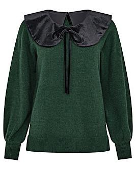 Monsoon Velvet Tie Collar Knit Jumper
