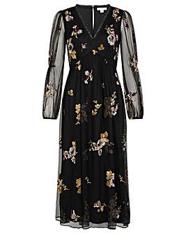 Monsoon Teri Embroidered Midi Dress