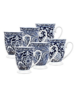 Blue and White 6pc Footed Mugs