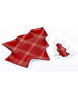 2 Highland Tartan Christmas Tree Plates