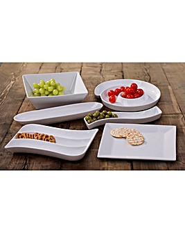 6 Piece White Snacks Serving Set