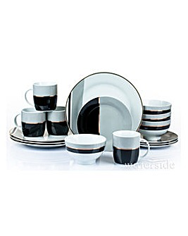 Black and Gold 16 Piece Dinner Set