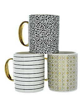 Set of 3 Monochrome & Gold Mugs
