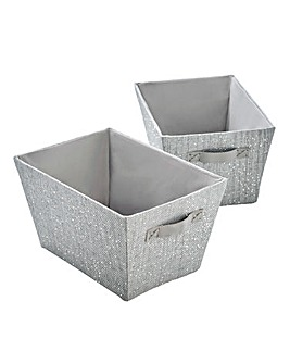 Glitz Set of 2 Storage Baskets with Faux Leather Handles