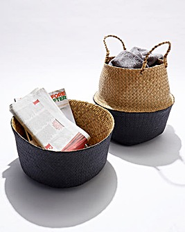 Set of 2 Segrass Belly Baskets