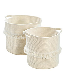 Set of 2 Fringed Cotton Rope Baskets