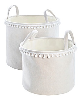 Pom Pom Set of 2 Round Storage Baskets