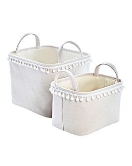 Pom Pom Set of 2 Rectangular Storage Baskets