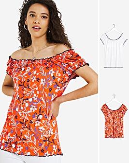 Joe Browns 2 Pack Plain and Floral Print Tops