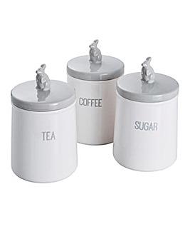 Bunnies Tea, Coffee, Sugar Storage Set