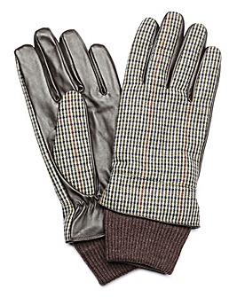 Capsule Grey Check Tweed Gloves