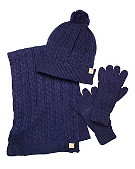 Capsule Navy Hat, Scarf & Gloves Set