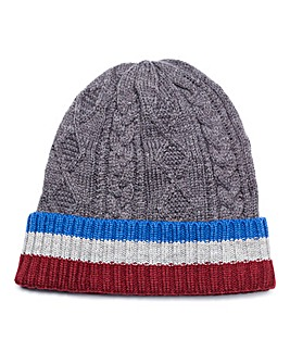 Capsule Stripe Cable Beanie